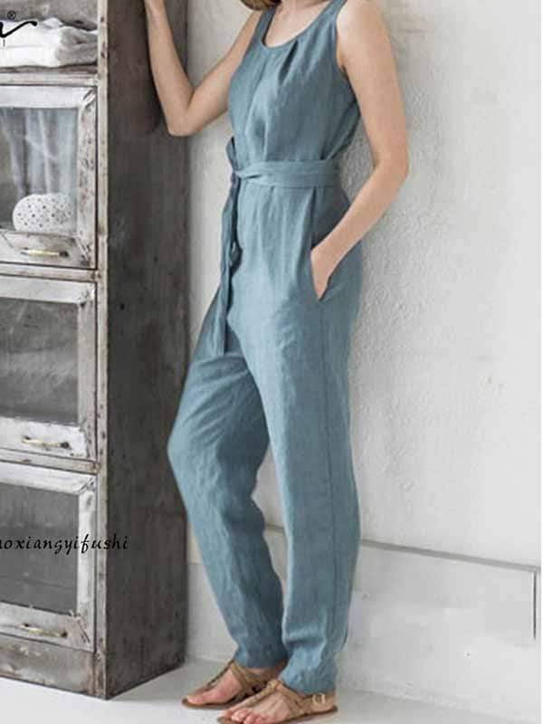 wiccous.com Plus Size Bottoms lake blue / L Plus size cotton linen jumpsuit