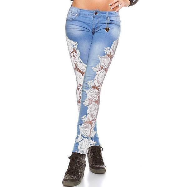 Floral Casual Trendy Lace Ripped Jeans