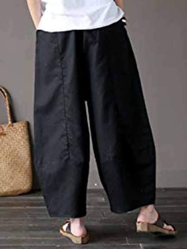 wiccous.com Bottoms Black / M Cotton linen wide-leg pants