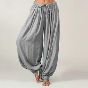 Solid Color Drawstring Casual Loose Harem Pants