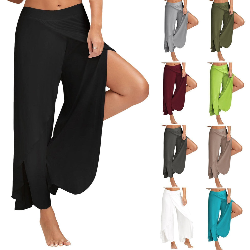 Wide Leg Flowy Casual Side Slit Yoga Pants