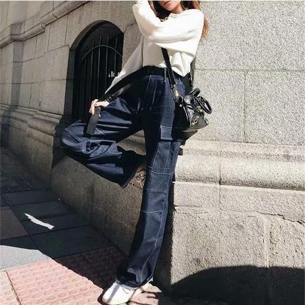 New Fashion High-waisted Oversize Jeans(with belt)