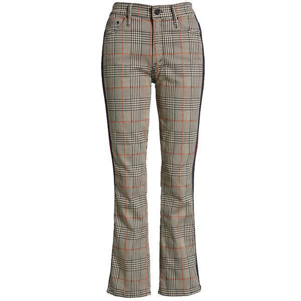 Colorblock Plaid Straight Casual Suit Pants