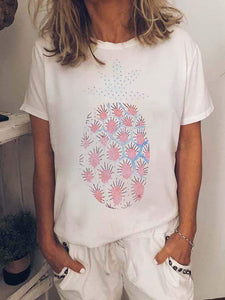 wiccous.com Plus Size Tops White / S Pineapple Print T-Shirt