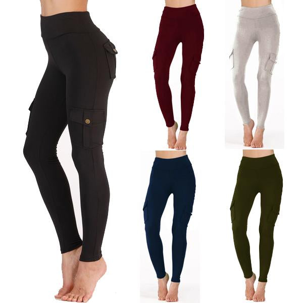 Women High-waist Fitness Solid Color Pockets Yoga Pants Leggings