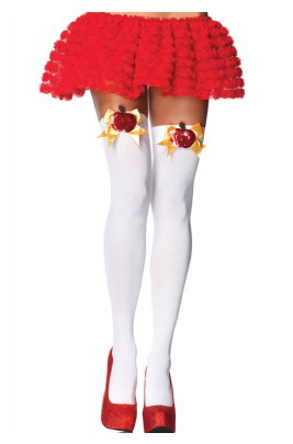 Opaque Thigh High Poison Apple Stockings