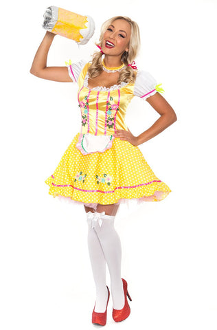 Premium Ladies Beer Maid Costume Oktoberfest Bavarian Wench German Heidi Fancy Dress