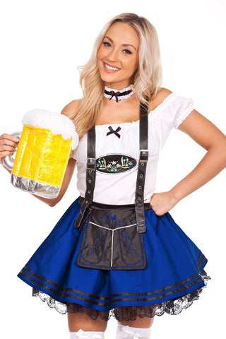 The Saskia (Blue) Premium Oktoberfest Beer Maid Costume Blue