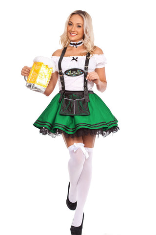 The Saskia (Green) Premium Oktoberfest Beer Maid Costume Green