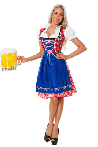 Premium Ladies Blue Oktoberfest Beer Maid Wench German Bavarian Heidi Fancy Dress Costume