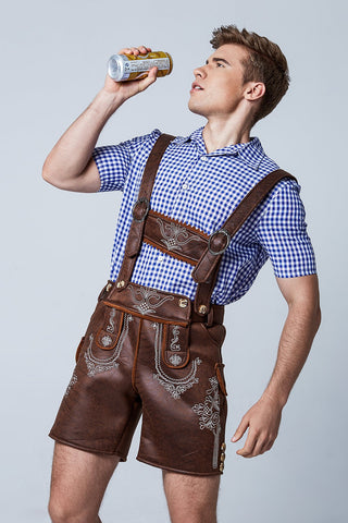 THE BRAUN: Premium Mens Lederhosen Oktoberfest German Fancy Dress Costume PU Leather