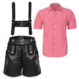 THE HANS (BLACK) Premium Mens Black Lederhosen Oktoberfest German Fancy Dress Costume PU Leather
