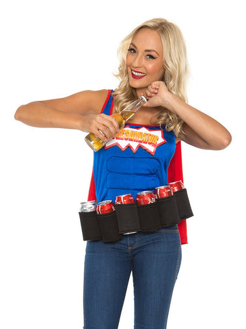 Premium Adult Oktoberfest Super Six-Pack Beer Girl Hero Superhero Halloween Fancy Dress Costume