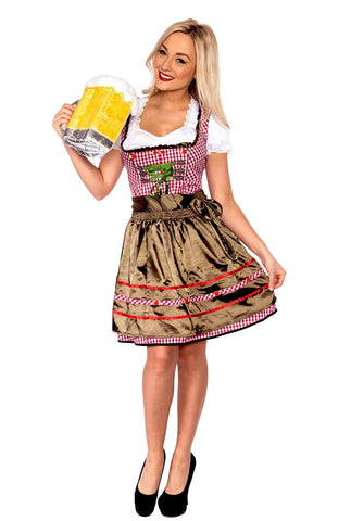 Premium Ladies Beer Maid Wench Costume Oktoberfest Gretchen German Fancy Dress Halloween