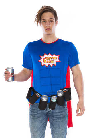 Premium Adult Oktoberfest Super Six-Pack Beer Man Hero Superhero Halloween Fancy Dress Costume