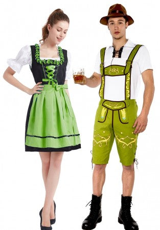 Premium Oktoberfest Green Lederhosen Beer Maid Couple Costumes