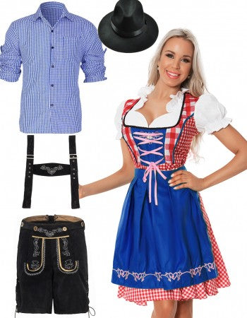 Premium Oktoberfest Alpine Beer Maid Wench Couple Costumes