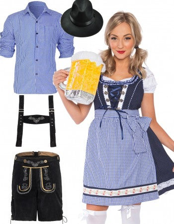 Premium Oktoberfest Alpine Beer Maid Vintage Couple Costume