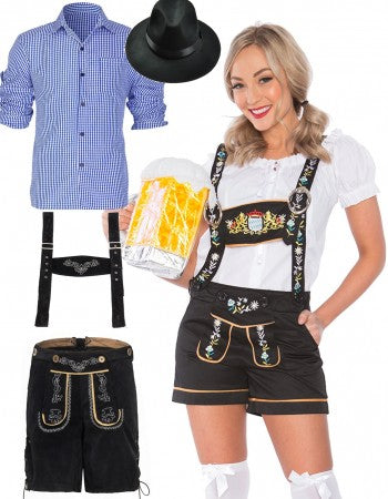 Premium Oktoberfest Mr. and Mrs.  Lederhosen Couple Costumes