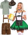Premium Oktoberfest Green German Beer Lederhosen Couple Costume