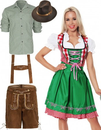Oktoberfest German Beer Couple Green Costume