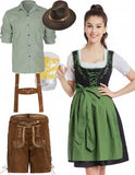 Oktoberfest Dirndl German Beer Lederhosen Couple Green