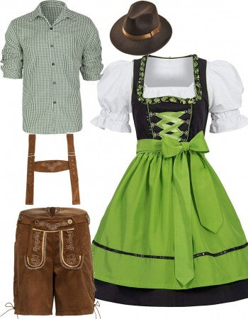 Oktoberfest Lederhosen German Couple Beer Green Costume