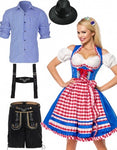 Premium Oktoberfest Blue German Wench Couple Costumes