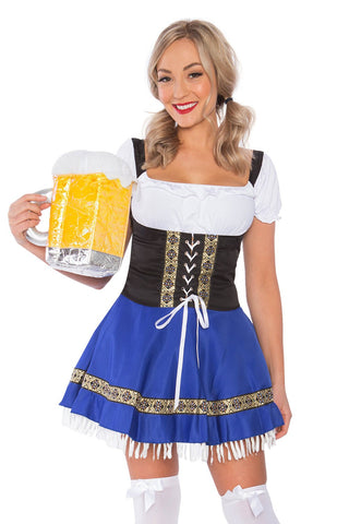 The Blue Rita: Premium Ladies Oktoberfest German Bavarian Beer Maid Costume