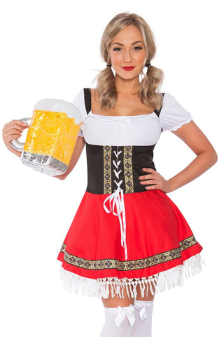 The Red Rita: Premium Ladies Oktoberfest German Bavarian Beer Maid Costume