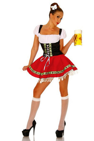 The Red Hanna: Premium Ladies Beer Maid Costume Wench German Heidi Oktoberfest Gretchen Fancy Dress