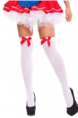 Tight High Stockings White With Red Bow
