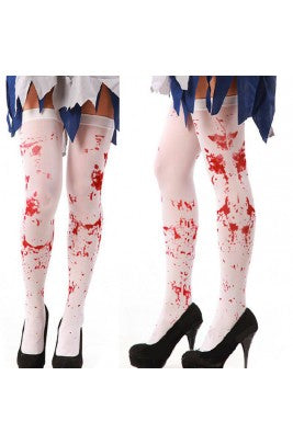 Bloody Blood Halloween Horror Tight High Stockings Stained White Socks Gothic Scary Nurse