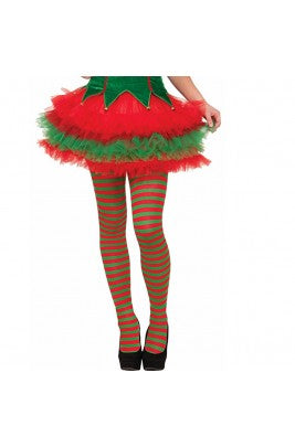 Pantyhose Striped Elf Tights Christmas Xmas Helper Red Green Fancy Dress Costume Stockings
