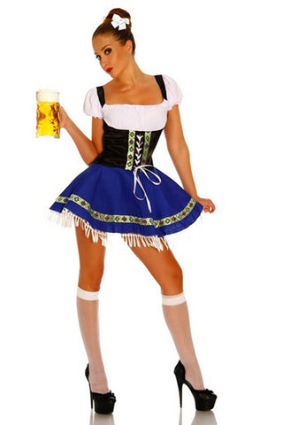The Blue Hanna: Premium Ladies Beer Maid Costume Wench German Heidi Oktoberfest Gretchen Fancy Dress
