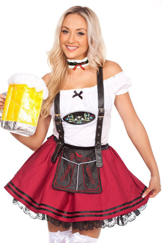 The Saskia (Red) Premium Oktoberfest Beer Maid Costume