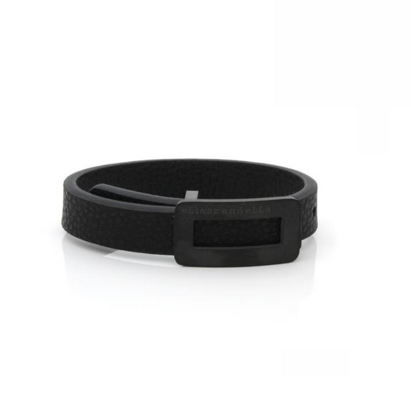 Bracelet en cuir noir vegan simple