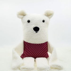 Peluche Ours polaire - poche rouge