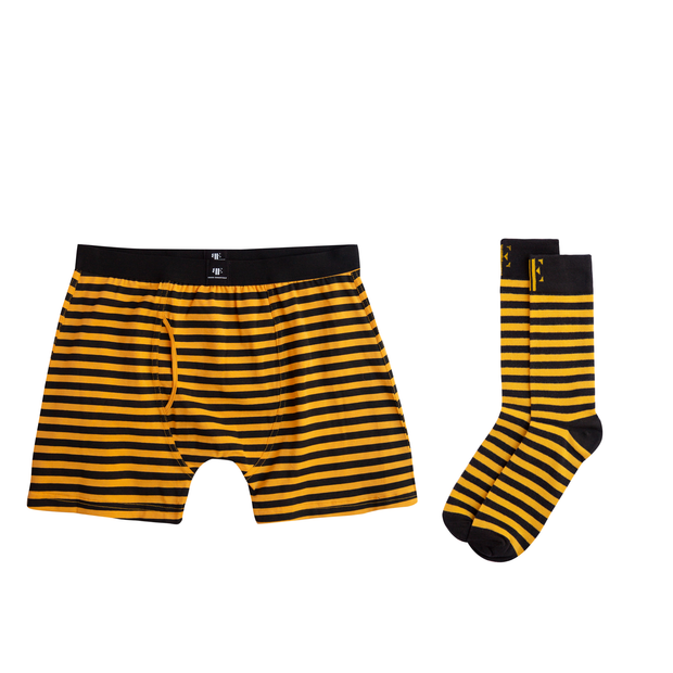 Yellow & Black Matching Boxer Briefs & Socks