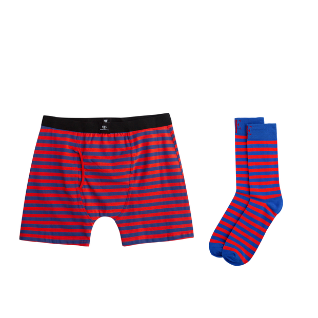 Red & Blue Matching Boxer Briefs & Socks