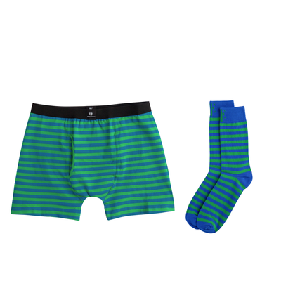 Green & Blue Matching Boxer Briefs & Socks