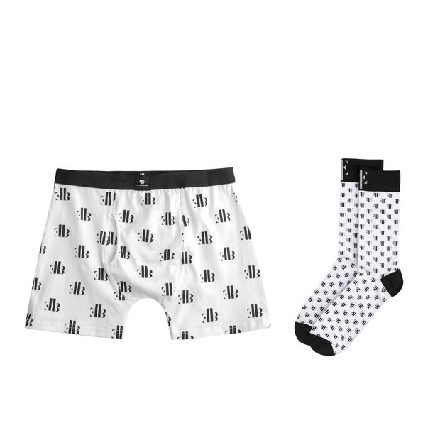 Signature BE White & Black Matching Boxer Briefs & Socks