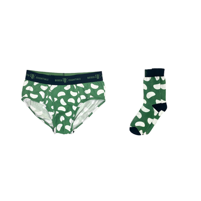 The Green Bean | Green & White Matching Briefs & Socks