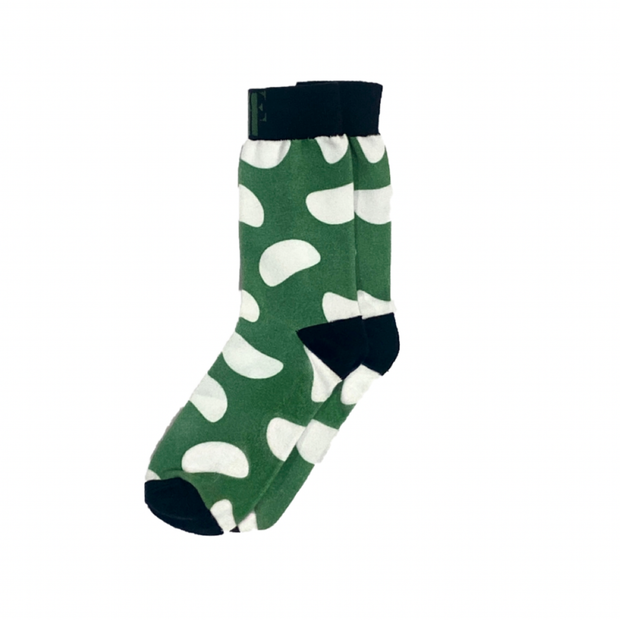 The Green Bean | Green & White Crew Socks