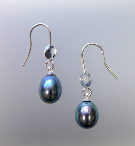 Freshwater Pearl Earrings - Silver Large