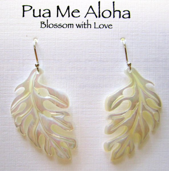 Carved Monstera Earrings