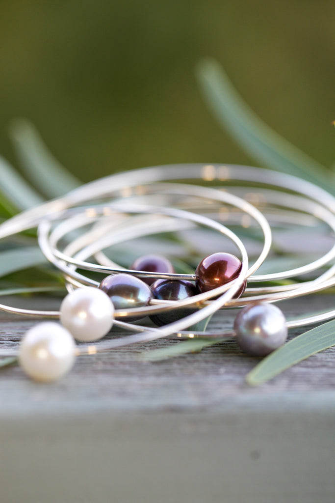 Pearl Bangles - Sterling Silver