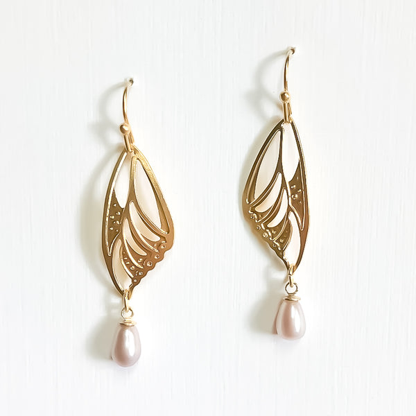 Butterfly Wing - Pearl Earrings