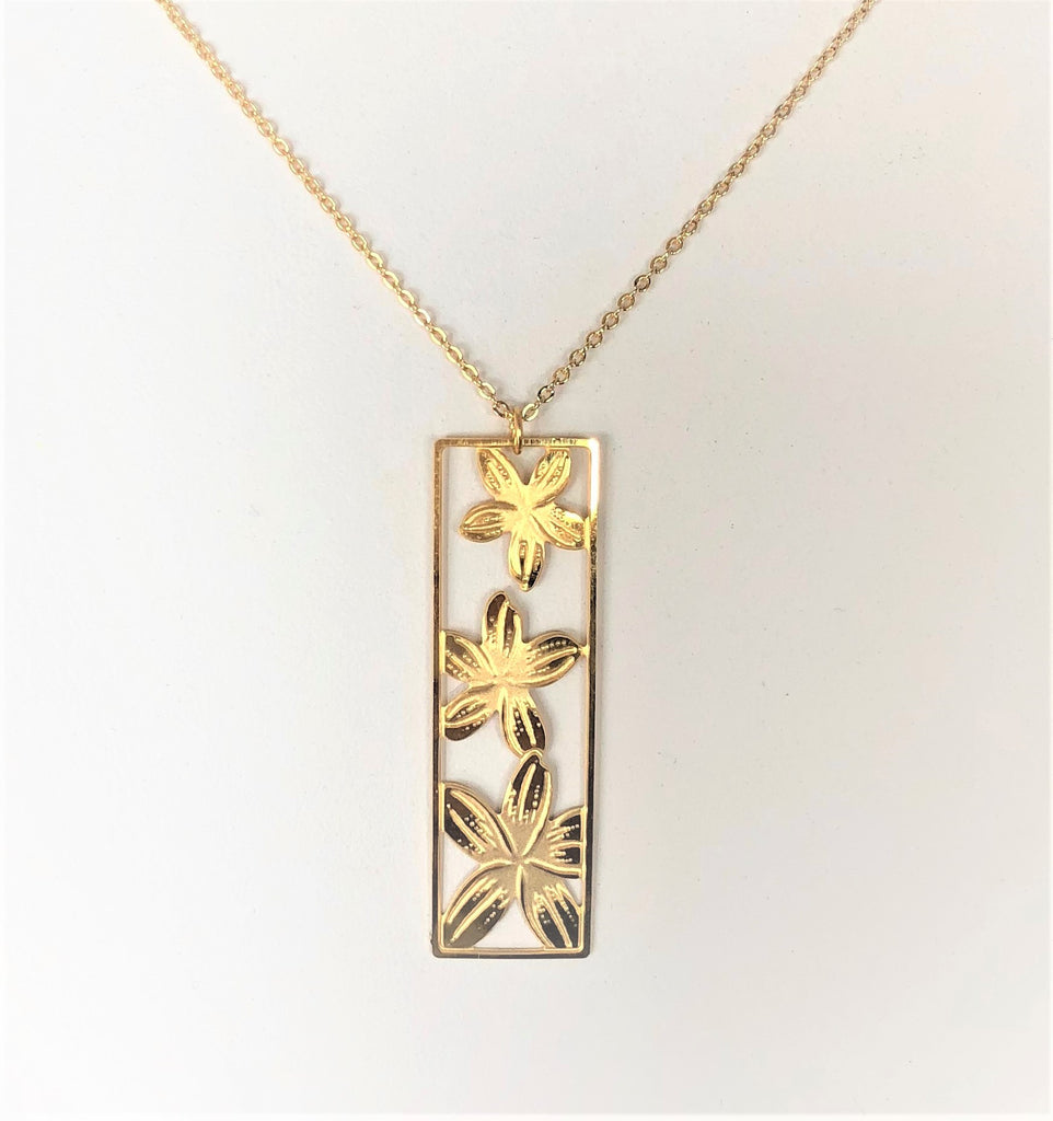 Rectangle Plumeria Necklace