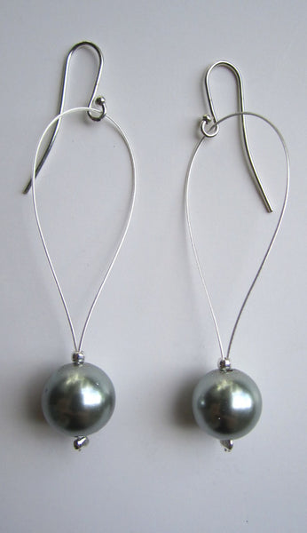 Drop Pearl Earrings - Silver